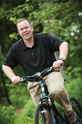 Benjamin Goodhart, pictured above with his prize bike, was a new participate to the Employee Wellness Team event.
