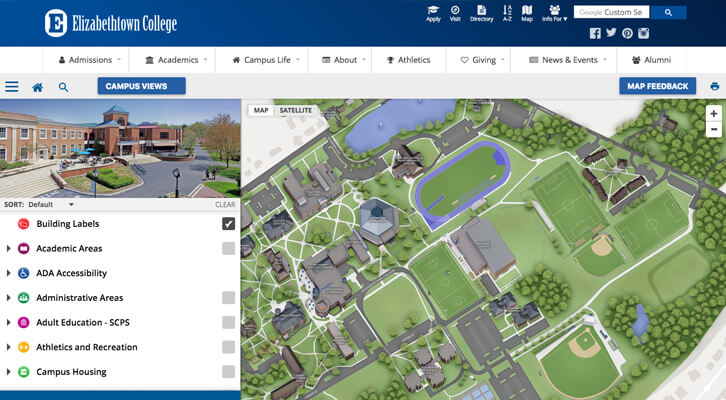 Elizabethtown College Map New! Interactive Campus Map ‹ Elizabethtown College Online Magazine